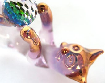 Cat Kitten Feline Figurine of Hand Blown Glass Crystal