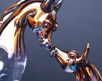 Mare Foal Horse Figurines Hand Blown Glass Sculpture