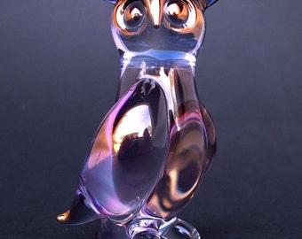Owl Figurine Hand Blown Glass Gold Crystal Sculpture