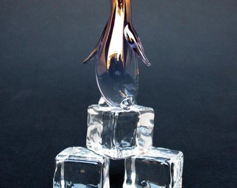 Penguin on Ice Figurine of Hand Blown Glass 24K Gold