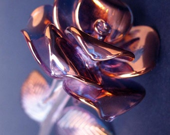 Rose Figurine Anniversary Gift Blown Glass Gold Crystal