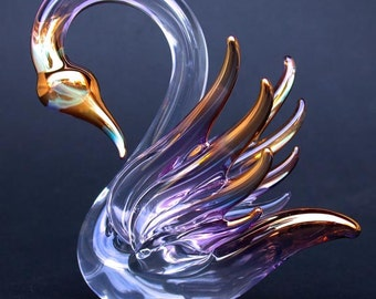 Swan Figurine Hand Blown Glass Gold Crystal Sculpture
