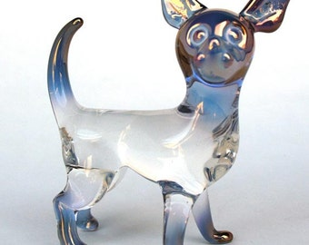 Chihuahua Figurine Blown Glass Crystal Sculpture