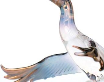 Mallard Duck Figurine Glass Drake Hunting Sculpture