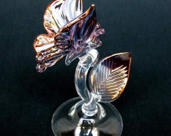 Butterfly Figurine Purple Pink and Gold Blown Glass