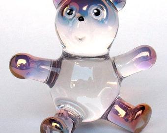 Teddy Bear Figurine Hand Blown Glass Crystal Sculpture