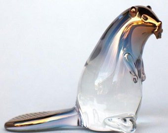 Beaver Figurine of Hand Blown Glass with 24K Gold