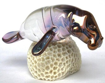 Manatee Figurine of Hand Blown Glass 24K Gold and Coral
