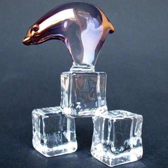Polar Bear on Ice Figurine of Hand Blown Glass 24K Gold
