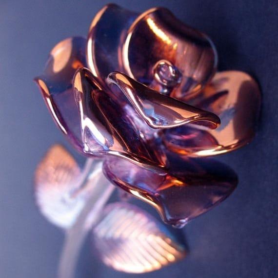 rose figurine anniversaire cadeau en verre soufflé cristal