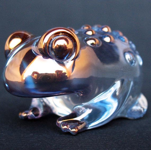 Toad Figurine Frog Sculpture of Hand Blown Glass