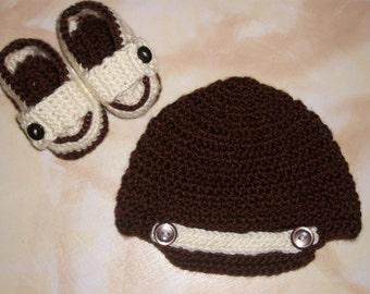 Baby Boy Crochet Brimmed Hat And Loafer Booties