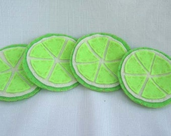 Lime Slice Felt Coasters