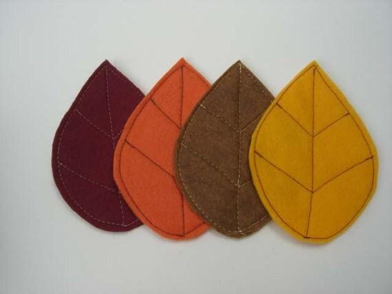 Autumn Fall Leaves Coasters Set