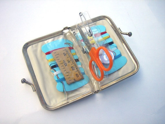 RESERVED for Lisa - Vintage Travel Sewing Kit - Metallic Silver Case