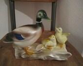 Mama Mallard and her ducklings ceramic 5 x 8 in
