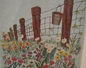 Garden Path Needlecraft Kit Sultana unopend virgin wool thread crewel embroidery bright baby blue linen
