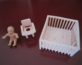 Pink  Potty  Chair Crib baby Doll house plastic furniture