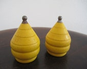 2 Yellow Vintage spinning tops wood with metal tip