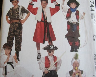 Mccalls costume boxer karate commando snake charmer pirate cowboy pattern uncut size 2 and 4