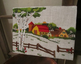 Barn scene crewel embroidery picture birch trees poplar meadow country fence stitchery