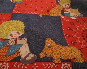 5 Cloth Napkins Retro Denim Red Bandana Calico Dog with Children Print Raggedy ann