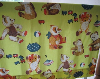 Baby Nursery Curtain Panels and valence vintage train and bear pattern yellow background