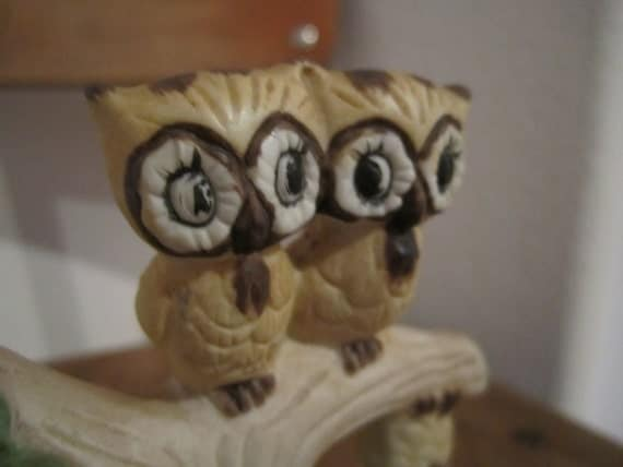Owl Figurine No one's perfect     Kitschy ceramic knick knack october halloween