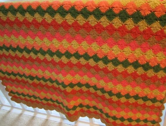 Starburst Flower Crochet Blanket Pattern : Starburst pattern crocheted blanket afghan large autumn colors