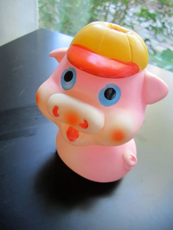 Vintage Pink Pig Rubber Squeeze Squeaky Baby Toy Turning
