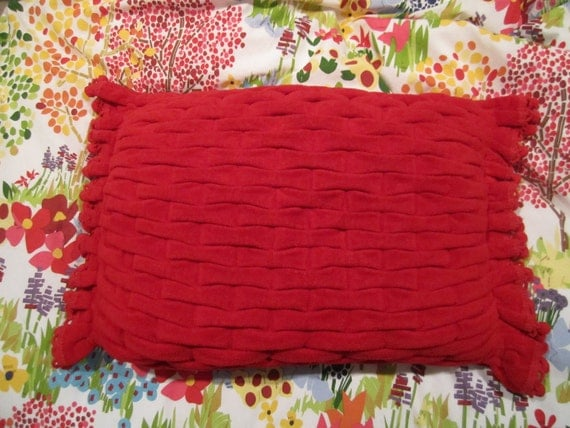 VINTAGE Red Terry cloth pillow with smocked front handmade out of velvety towels and pom poms