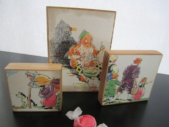 3 Rustic Vintage Print Art Blocks Wood Elf and Old Lady from Childrens 1930 storybook page Aiken-Drum