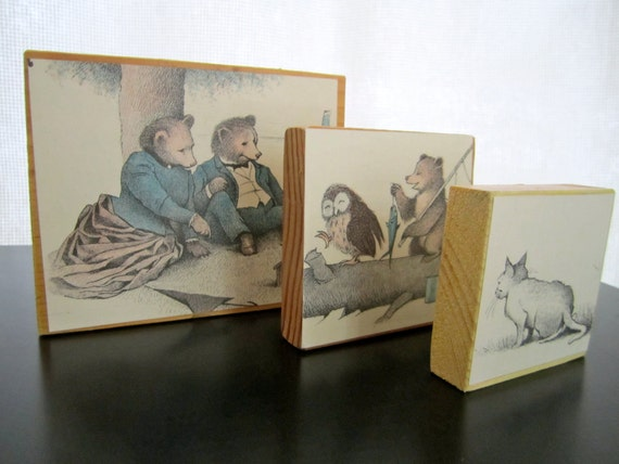 3 Vintage Print Art Blocks Wood Print from Little Bear childrens storybook with cat and owl illustration