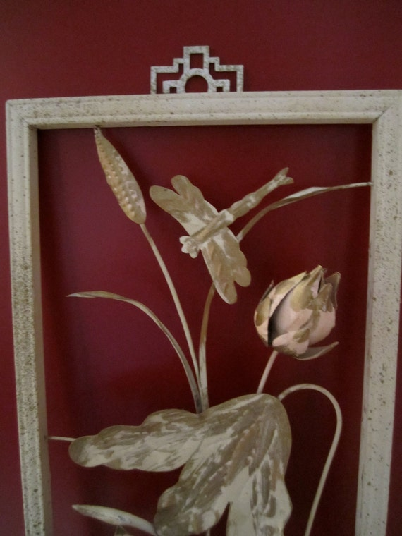 Cut  out Metal Vintage art dragonfly among lotus cottage chic pink and gold and cream decor
