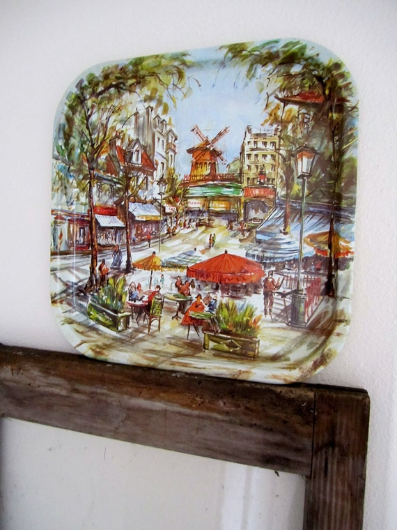 Paris scene tray for serving Daher tin