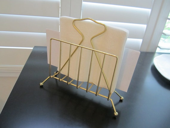 Wire Mid century Napkin or envelope holder gold tone atomic look