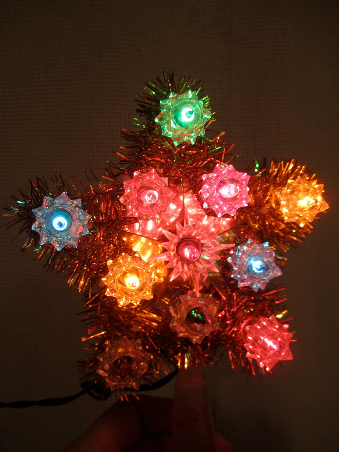 little christmas star tree topper lighted flashing electric. Black Bedroom Furniture Sets. Home Design Ideas