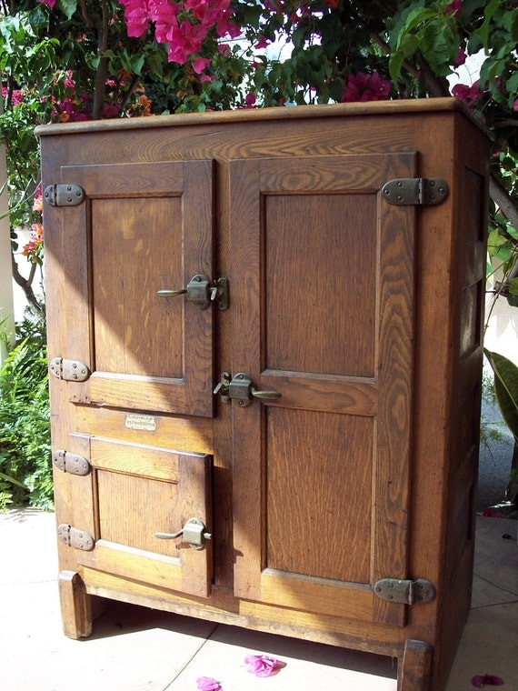 1919 Antique 3 Door Ice Box Wood By Southerncalifornia On Etsy
