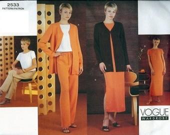 Vogue UNCUT Wardrobe Pattern 2533 - Misses Jacket, Top, Dress & Pants 18-22
