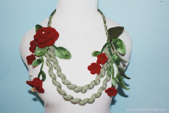 SALE - Crochet Flower Necklace