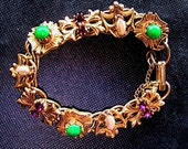 Vintage Florenza Bracelet - 1950s Green Faux Jade, Amethyst Rhinestones and Faux Pearls with Gold Tone Finish, Echochic, PapillonJewels