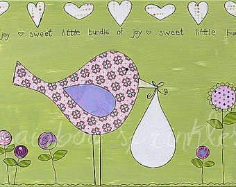 Children's Wall Art Print 8x10- stork, bird, newborn, baby, baby shower gift, Nursery Room Decor, Kids Art
