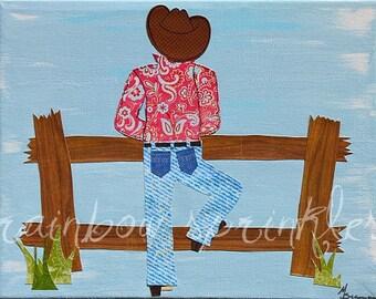 Children's Wall Art Print 8x10- cowboy, ranch, Boy Nursery,  Kids Art, Nursery Room Decor, Western Decor Art