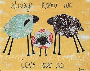 Children's Wall Art Print 8x10- lamb, sheep, family, Kids Art, Kids Room Decor, Nursery Wall Art, Nursery Room Decor