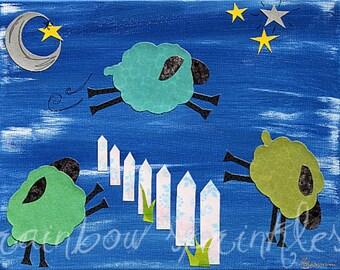 Children's Wall Art Print- lamb, counting sheep, nursery rhyme, Nursery Art, Kids Art