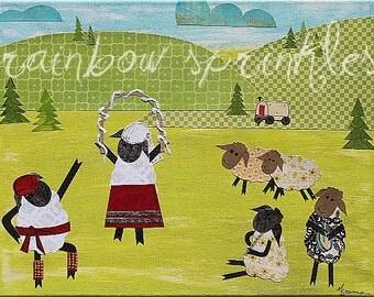 Wall Art Print 8x10- sheep, basque, ranch, western, wild west, Kids Art, Childrens Art, Nursery Art