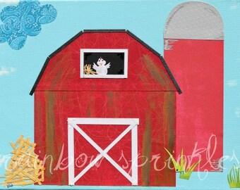 Children's Wall Art Print 8x10- barn, farm, chicken, Kids Art, Kids Room, Nursery Art, Nursery Wall Decor