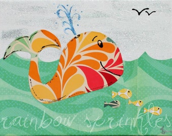 Children's Wall Art Print 16x20- whale, fish, ocean, sea, Kids Art, Kids Room Art, Nursery Art, Nursery Room Decor, Ocean Nursery