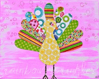 Children's Wall Art Print 8x10- peacock, bright, colorful, bird, Kids Art, Girls Room Decor, Nursery Art, Nursery Room Decor, Girls Room