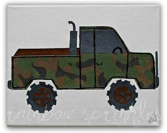 Children's Wall Art Print, 8x10- truck, camo, boy, kids art, nursery wall art, kids room decor, baby boy nursery